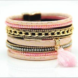 Giraffe Pattern & Crystal Layered Bracelet